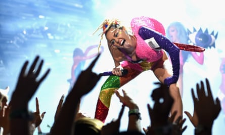 Can't stop … reformed party monster Miley Cyrus at the 2015 MTV Video Music awards.