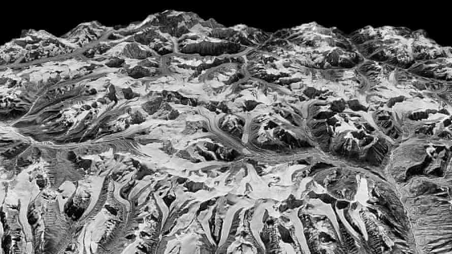 Oblique view of a Himalayan landscape captured by a KH-9 Hexagon satellite on 20 December 1975 on the border between eastern Nepal and Sikkim, India.