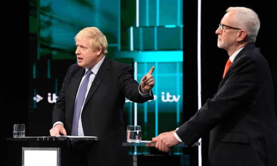 Boris Johnson and Jeremy Corbyn during the ITV debate on 19 November.