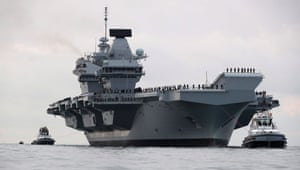 The aircraft carrier arriving in Portsmouth