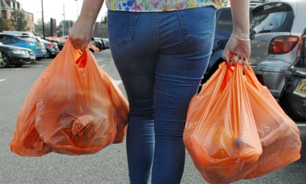 Government introduces 5p plastic bag tax, London,
