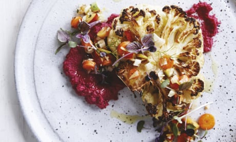 Bondi Harvest's cauliflower steak with beetroot hummus recipe