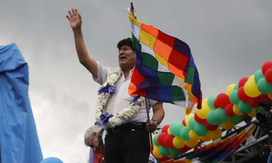 Evo Morales waves during a rally in Chimoré, Cochabamba, Bolivia, on 11 November.