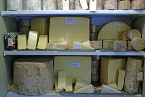 Selection of Cheddar Cheese on sale ina store in Cheddar Gorge Somerset England, UK.