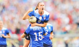 Heather O'Reilly celebrates a goal in 2015 with Megan Rapinoe – both have signed up for the Common Goal charity initiative.