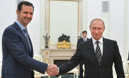 President Bashar al-Assad with President Vladimir Putin in October 2015.
