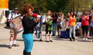 Rachel Dolezal at a rally for immigration rights, earlier this year