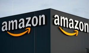 Amazon logo on a warehouse