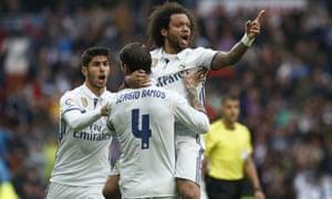 Marcelo celebrates his late goal