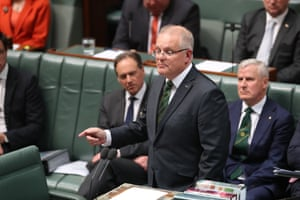 The Prime Minister Scott Morrison speaks during the condolence motion for the late Tim Fischer