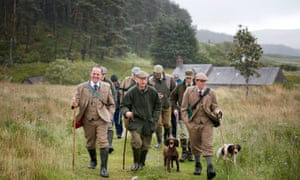 A shooting party heading out on to the moor on the Abercairny estate near Crieff, Perthshire.