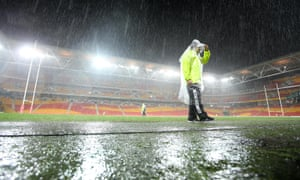 Suncorp Stadium on Friday evening when the scheduled trans-Tasman Test match between the Australia Kangaroos and the New Zealand Kiwis was postponed.