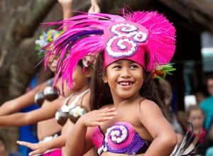 A traditional Cook Island dancer entertains the crowds