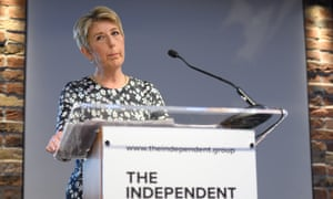 Angela Smith at a press conference to announce the launch of the Independent Group, February 2019