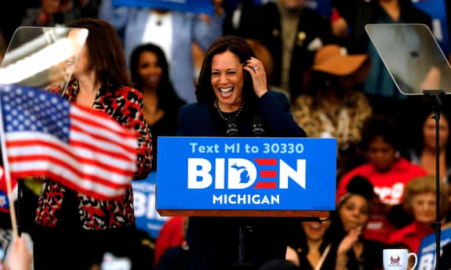 Kamala Harris endorses Joe Biden during a campaign rally in Detroit, Michigan, on 9 March.