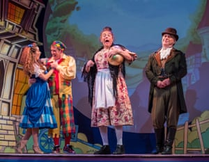 Roy Hudd as Mother Goose, centre at Wilton's Music Hall.