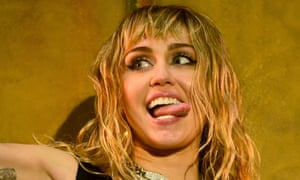 Tongue in cheek ... Miley Cyrus performing at Radio 1's Big Weekend in May.