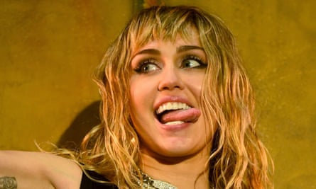 Tongue in cheek ... Miley Cyrus performing at Radio 1's Big Weekend in May.