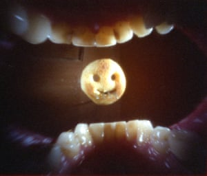 Eating a 'potato face': shot from inside my mouth