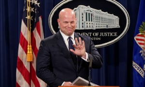 Matthew Whitaker at a news conference in Washington.