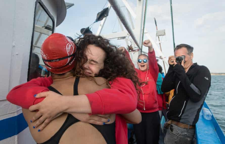 Eve hugs Amelie as she returns to the Viking Princess