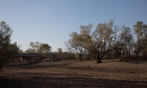 The dry Narran river outside the town of Walgett in north-west NSW.