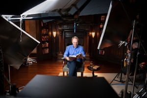 Dan Brown filming his masterclass at his home in New Hampshire.