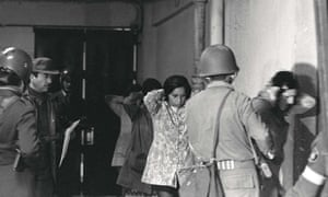Prisoners being herded into the Valparaiso stadium, 15 days after Augusto Pinochet's coup in September 1973