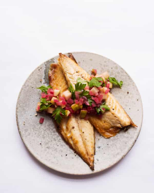 Nigel Slater's mackerel with pear and red onion.