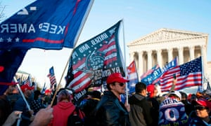 Trump supporters protest the outcome of the election in front of the US supreme court on 12 December 2020 in Washington DC.