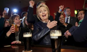 Hillary Clinton visits a local bar during a campaign stop in Youngstown, Ohio, March 12, 2016