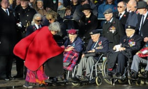 Military veterans attend the Remembrance Sunday ceremony at the Cenotaph on 10 November 2019.