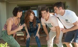 Good bromance? Tatiana (Aubrey Plaza) and Alice (Anna Kendrick) get to know their dates, Mike (Adam Devine) and Dave (Zac Efron)