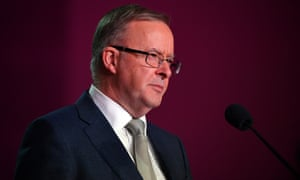Labor leader Anthony Albanese delivers his keynote speech at the 2021 ALP national conference