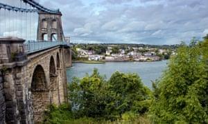 Menai bridge crossing Menai Straits to Anglesey from the mainland in Wales, UK, designed by Thomas Telford