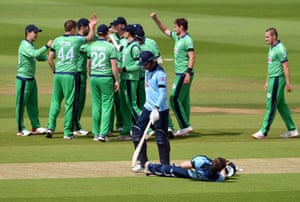 England's James Vince walks off dejected after being dismissed by Ireland's Craig Young following a review.
