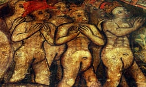 A detail from a rare medieval fresco, known as the Coventry Doom, inside the city's Holy Trinity church which depicts 15th century 'ale women' being dragged down into hell.