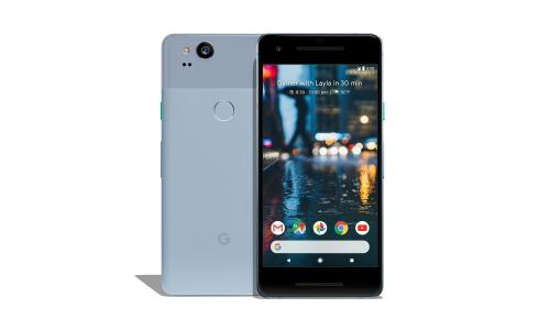 The smaller 5in Google Pixel 2 in a light blue colour.