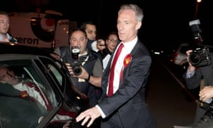 Scottish Labour party leader Jim Murphy leaves the election count after failing to be re-elected as MP for East Renfrewshire.