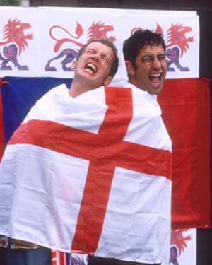 David Baddiel, right, with Frank Skinner in TV's Fantasy World Cup.