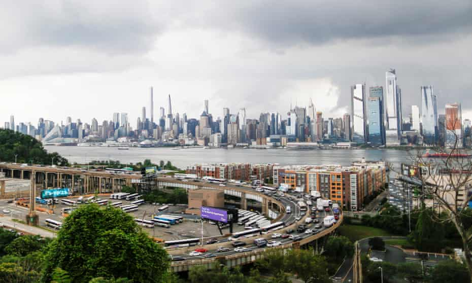 The skyline of New York City and traffic at the Lincoln Tunnel before the Fourth of July holiday.
