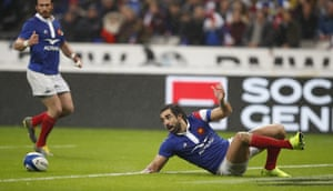 Yoann Huget loses the ball in a horrible position to hand George North his first try.