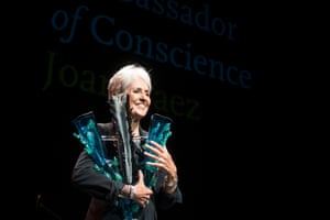 Joan Baez receives Amnesty International's highest honour, the ambassador for conscience award, in 2015.