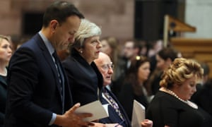 (L-R) Leo Varadkar, Theresa May, Michael Higgins and Lord Lieutenant of Belfast Fionnuala Jay-O'Boyle at the funeral service.
