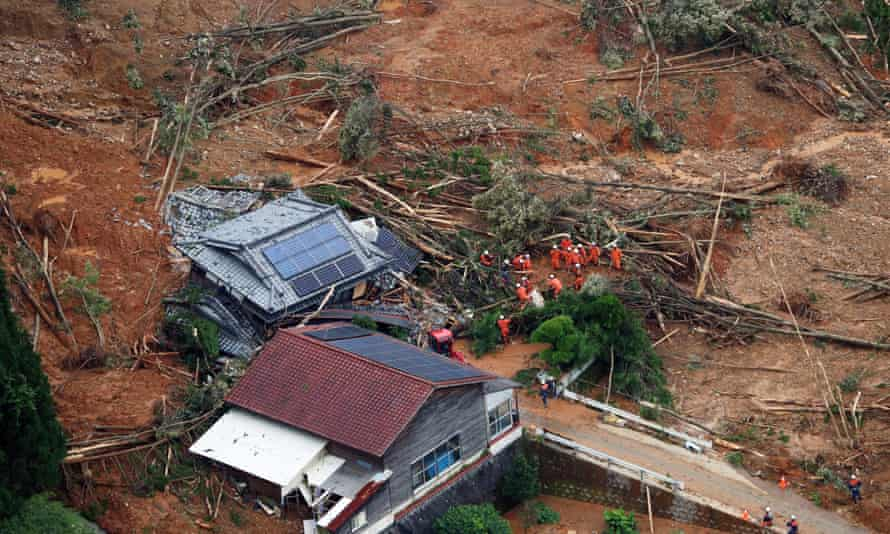 An aerial view shows rescue operations in Ashikita, Kumamoto prefecture.
