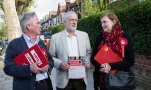 From left, Robert Atkinson, leader of the Labour group on the council, with Jeremy Corbyn and Emma Dent Coad, Labour MP for Kensington, campaigning in the borough.
