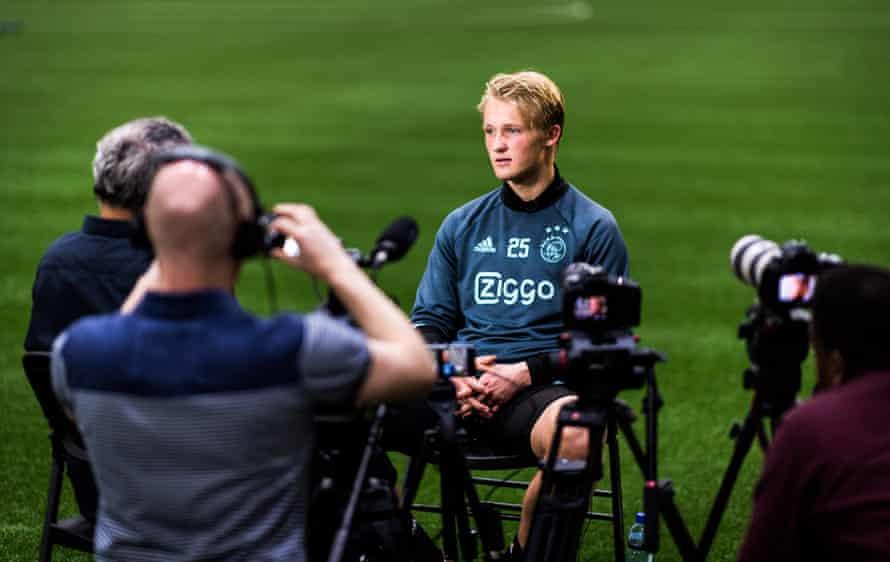 Ajax's Kasper Dolberg speaks to the media