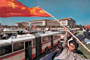 Students gather in Tiananmen Square to join a protest, 1989