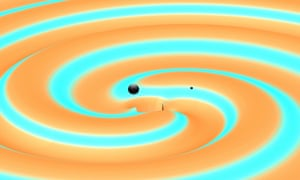 This image depicts two black holes just moments before they collided and merged with each other, releasing energy in the form of gravitational waves.
