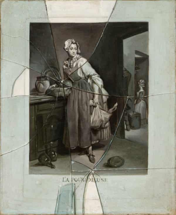 Etienne Moulinneuf's Back from the Market, c.1770 – a painting of an engraving of a painting by Chardin.